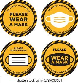 Please wear mask icon signage