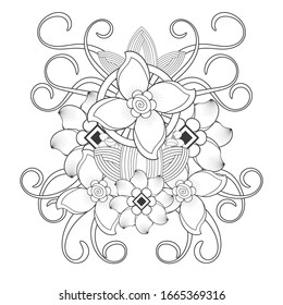 pleasing decorative flower of Coloring book page for adult Black outline and white background