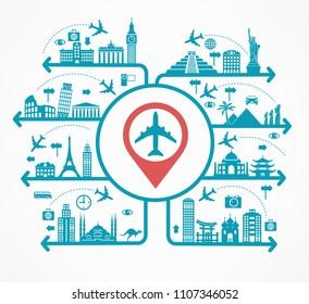 Pleasure travel destinations. Template Background Flat Vector Illustration