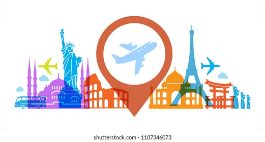 Pleasure travel destinations. Template Background Flat Vector Illustration