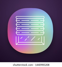 Pleated blinds app icon. Cellular shades. Office window blinds. Roller shutters. UI/UX user interface. Web or mobile application. Interior design, home decor shop. Vector isolated illustration