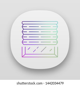 Pleated blinds app icon. Cellular shades. Window blinds. Roller shutters, jalousie. Interior design, home decor shop. UI/UX user interface. Web or mobile applications. Vector isolated illustrations