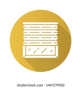 Pleated blinds flat design long shadow glyph icon. Cellular shades. Office window blinds. Room darkening, roller shutters, jalousie. Interior design, home decor shop. Vector silhouette illustration