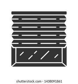 Pleated blinds glyph icon. Cellular shades. House and office window blinds. Room darkening decoration, roller shutters. Home decor shop. Silhouette symbol. Negative space. Vector isolated illustration