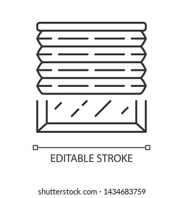 Pleated blinds linear icon. Cellular shades. Window blinds. Roller shutters,  jalousie. Home decor shop. Thin line illustration. Contour symbol. Vector isolated outline drawing. Editable stroke