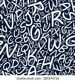 Plenty white alphabet letters in seamless pattern on dark blue background for wallpaper or textile design