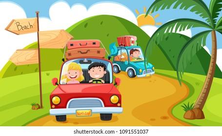 Pleople Goin on Long Weekend Trip in Mountain illustration