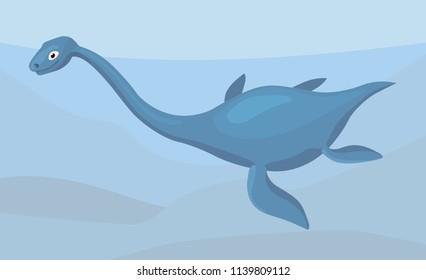 plesiosaurus in water depth, cartoon illustration