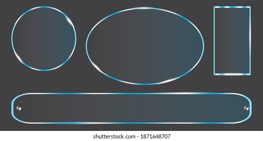 Plexiglass, great design for any purposes. Poster, card, banner design. Long oval shape made of plexiglass. EPS 10.