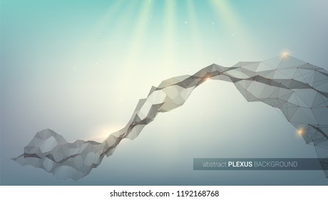 Plexus. Abstract digital background. Concept of network data visualization. Structure with connected dots and triangular cells. Pattern for cover, presentation, leaflets. Vector 3D illustration.