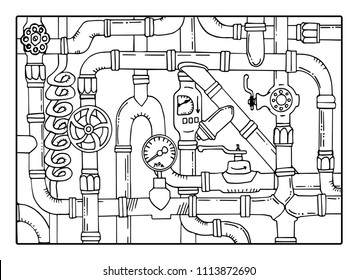 Plexus of the hydraulic tube. Hydro pattern. Sketch doodle vector illustration. Black and white background. Water supply networks. Pipeline. Pipe system. Illustration isolated on white background.