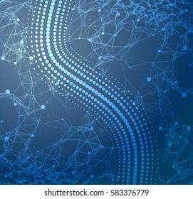 Plexus white on a dark blue background . Particle point line wide area network