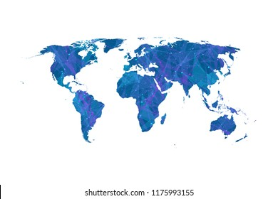 Plexus world map vector flat design