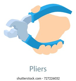 Pliers icon. Isometric illustration of pliers icon for web