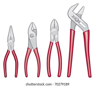 Pliers with red handles illustration.