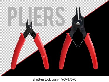 Pliers set. Snap Ring Plier. Cutting pliers for guitar strings. Realistic vector.
