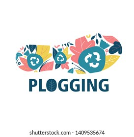 Plogging. The concept of a healthy and eco-friendly lifestyle. Running and garbage collection. Trail of shoes, flowers and leaves. Icon, logo, symbol. Flat Vector Illustration