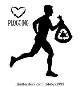 Plogging  illustration. Vector silhouette. Man runs and collects plastic, trash, litter. Garbage collection during jogging. Eco challenge. Black and white sketch.
