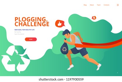Plogging landing concept vector illustration with a runner, trash or litter bag and a waste recycle icon. Cleaning garbage marathon or plogging eco challenge presentation, web page or banner template.