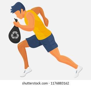 Plogging vector illustration: running athlete with a bag og garbage or trash. Runner with a garbage bag plogging or cleanning waste isolated.