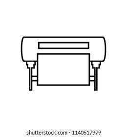 Plotter vector line icon. Large format inkjet printing machine.