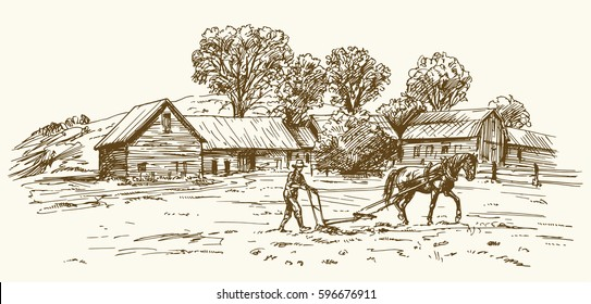Ploughing the Field with Horse, barn on the background.