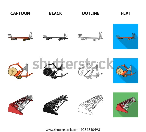 Plow, combine thresher, trailer and other agricultural devices. Agricultural machinery set collection icons in cartoon,black,outline,flat style vector symbol stock illustration web.