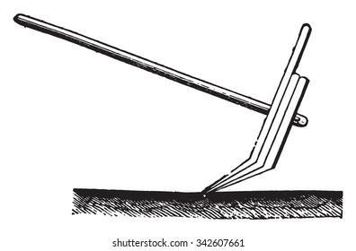 Plow of Hindustan, vintage engraved illustration. Industrial encyclopedia E.-O. Lami - 1875.