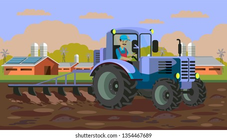 Plowing Tractor in Field Flat Vector Illustration. Agricultural Machinery Flat Clipart. Barn, Shed in Farmland. Farming Equipment. Soil Tillage Machine with Plough. Worker Character in Vehicle Cabin
