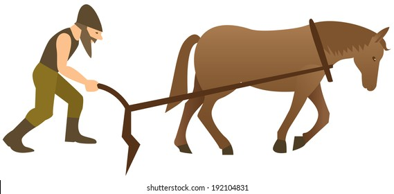Plowman and horse with plow