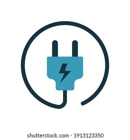 plug icon of color style design vector template