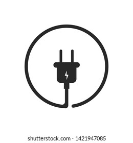 Plug icor for socket. Electric cable and adapter. Electrical concept device. EPS 10