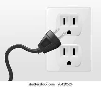 Plug In Illustration of a plug going into a socket.