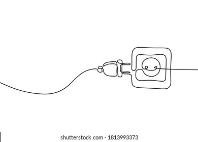 Plug inserting into electric outlet in continuous line art drawing style. Power plug and socket minimalist black linear design isolated on white background. Vector illustration