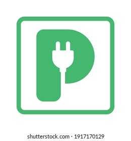 Plug in letter P icon, Green electric vehicle parking sign, Electric car charging point, Parking space for Eco friendly hybrid cars, Vector illustration