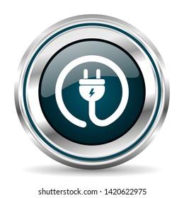 Plug power vector icon. Chrome border round web button. Silver metallic pushbutton
