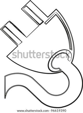 Plug Sketch Stock Vector Royalty Free 96619390