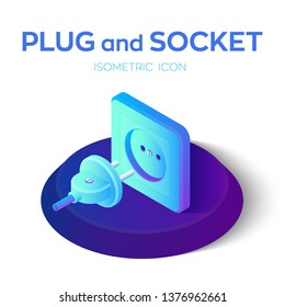 Plug and socket. Power plug and electric socket 3D isometric icon. Ready to connect. Concept of Electrical theme web banner, disconnection, loss of connect, loss of connection. Vector illustration.