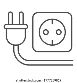 Plug and socket thin line icon, technology concept, electricity sign on white background, Electric plug with socket icon in outline style for mobile concept, web design. Vector graphics