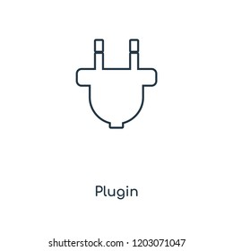 Plugin concept line icon. Linear Plugin concept outline symbol design. This simple element illustration can be used for web and mobile UI/UX.