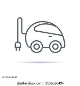Plug-in electric compact car vector line icon. Electromobility and transportation symbol.