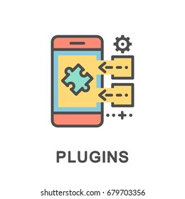 Plugin icon. Adding plugins to the main program on mobile phone. The thin contour lines with color fills.