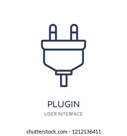 Plugin icon. Plugin linear symbol design from User interface collection. Simple outline element vector illustration on white background.