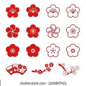Plum blossoms icon set (monochromatic)