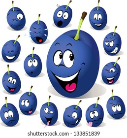 plum cartoon with many facial expressions