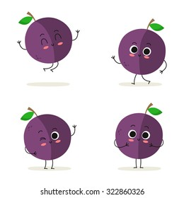 Plum. Cute fruit vector character set isolated on white