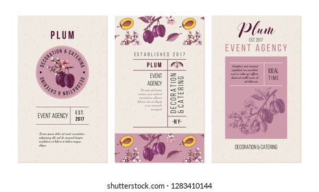 Plum event agency banners. Template with hand drawn plums. 3 vertical vector banners