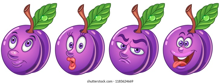 Plum. Fruit Food concept. Emoji Emoticon collection. Cartoon characters for kids coloring book, colouring pages, t-shirt print, icon, logo, label, patch, sticker.