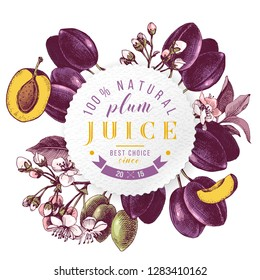 Plum juice paper emblem over hand drawn plum branches. Vector illustration