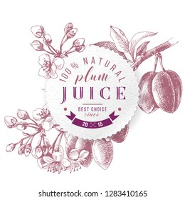 Plum juice paper emblem over hand drawn monochrome plum branch. Vector illustration
